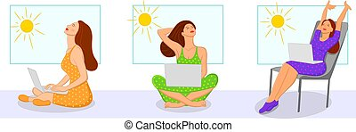 Young girls taking in the Sunshine from a window while working on a laptop during stay at home quarantine due to Corona Virus