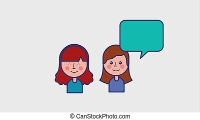 young girls talking speech bubble