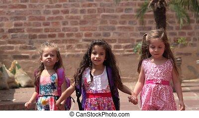 Young Girls Walking Friendship