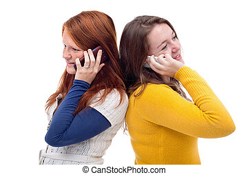 Young girls with mobile phone