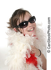 Young Glamour Teen With Feather Boa 1a - Young teen girl...