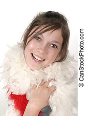 Young Glamour Teen With Feather Boa 2a - Young teen girl...