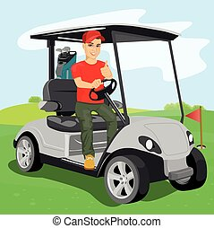 young golfer driving a golf-cart with clubs on the back on golf course