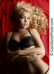 gorgeous blonde - young gorgeous blonde in sexy lingerie...