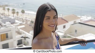 Young gorgeous girl in tropical resort - Portrait of...