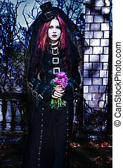 goth - Young goth girl with a red hair