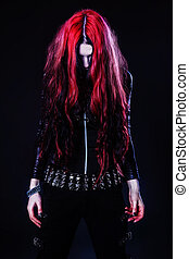 Young goth girl with a red hair