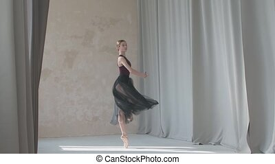 Young graceful ballerina against the background of long ...
