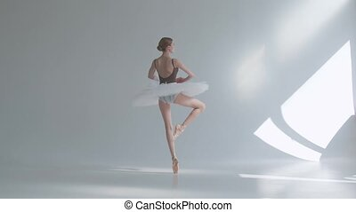 Young graceful ballerina in pointe shoes and white ballet ...