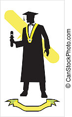 graduation student holding a diploma, full body silhouette, ribbon at the bottom, diploma icon at the background.