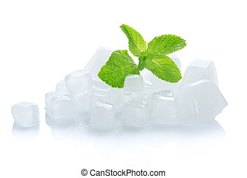 Young green leaves of spearmint and ice cubes