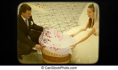Young Groom And Bride Release Pigeons. Retro. - This is a...