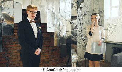 young groom man see his bride for the first time at wedding...