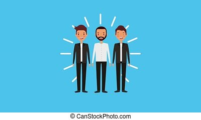 people work team animation hd - young group people work team...