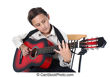 young guitar player learning play on a white background