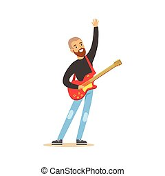 Young guitarist playing on electric guitar vector Illustration