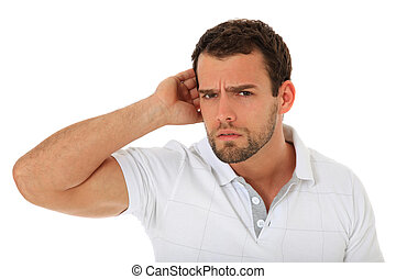 Young guy cant hear. All on white background.