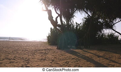 Young guy demonstrates human flag at sea beach. Athletic man doing gymnastics elements on palm tree at exotic ocean shore. Male sportsman performs strength exercises during workout outdoor