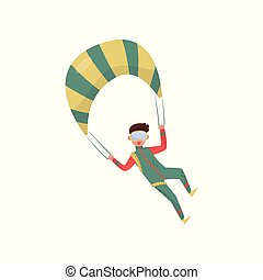 Young guy flying with parachute. Professional skydiver. Extreme sport. Man in green suit and protective goggles. Flat vector design