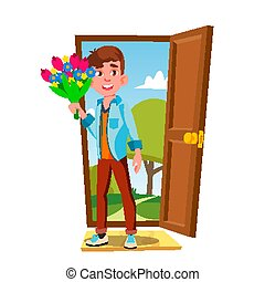Young Guy In The Open Door With Flowers And Gift Vector. Isolated Illustration