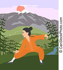 young guy practicing tai chi at mountain landscape vector - ...