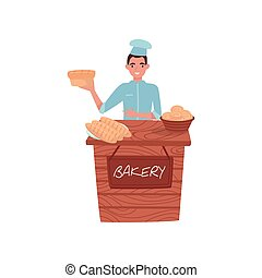Young guy selling fresh bread. Wooden stall with bakery products. Baker in uniform. Professional at work. Flat vector design