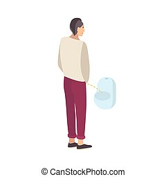 Young guy standing and peeing into urinal isolated on white background. Male flat cartoon character urinating in men s toilet, lavatory, loo, restroom or WC. Modern colorful vector illustration.