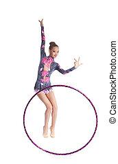 Young gymnast girl dance with hoop isolated