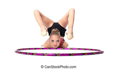 Young gymnast lay on white with hoop