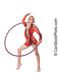 Young gymnast stand with hoop isolated