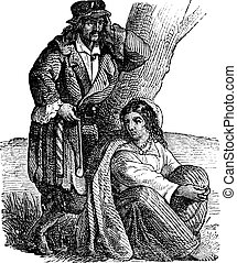 Young gypsy couple by tree vintage engraving. Old engraved...