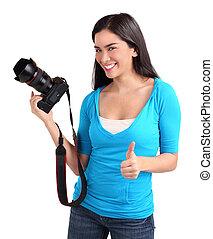 young hölgy, fényképész, , egy, sikeres, fénykép vadászik