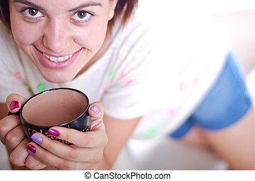 young hölgy, ivás, reggel kávécserje