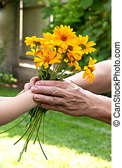 Young hand giving a flowers to senior's hand