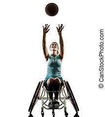 young handicapped basket ball player woman wheelchair sport iso