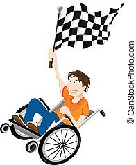 Young handicapped man in wheelchair with winner flag. Editable Vector Image
