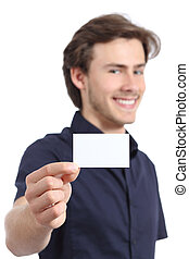 Young handsome businessman holding a blank card on a white...