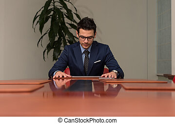 Young Handsome Businessman In Blue Suit