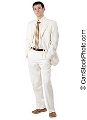 Young handsome businessman in white suit