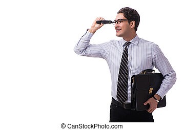 Young handsome businessman looking into future with binoculars