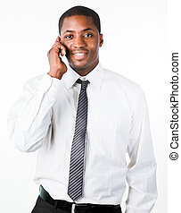 Young handsome businessman talking on the phone