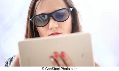 Young handsome businesswoman in 3D glasses using a tablet computer. HD. 1920x1080