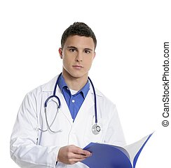 Young handsome doctor isolated on white