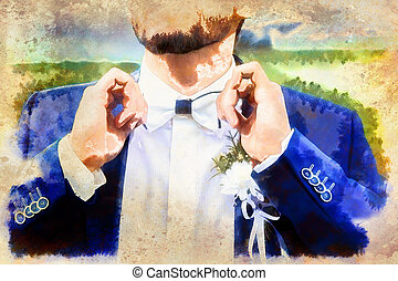 young handsome groom in blue wedding suit. Computer painting effect.