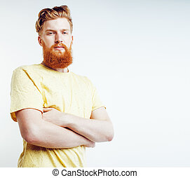 young handsome hipster bearded guy looking brutal isolated on white background, lifestyle people concept