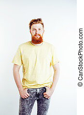 young handsome hipster bearded guy looking brutal isolated ...
