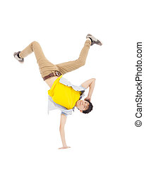 Young handsome man dancing stylish and cool breakdance
