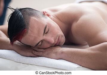 man have relaxing massage