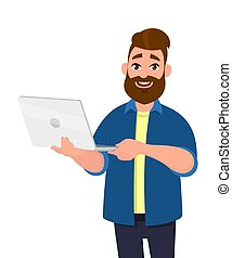 Young handsome man holding laptop computer and smiling while standing. Laptop computer concept illustration. Vector illustration in cartoon style.