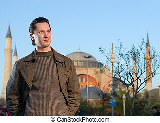 Young handsome man in a city (Turkey, Istanbul)